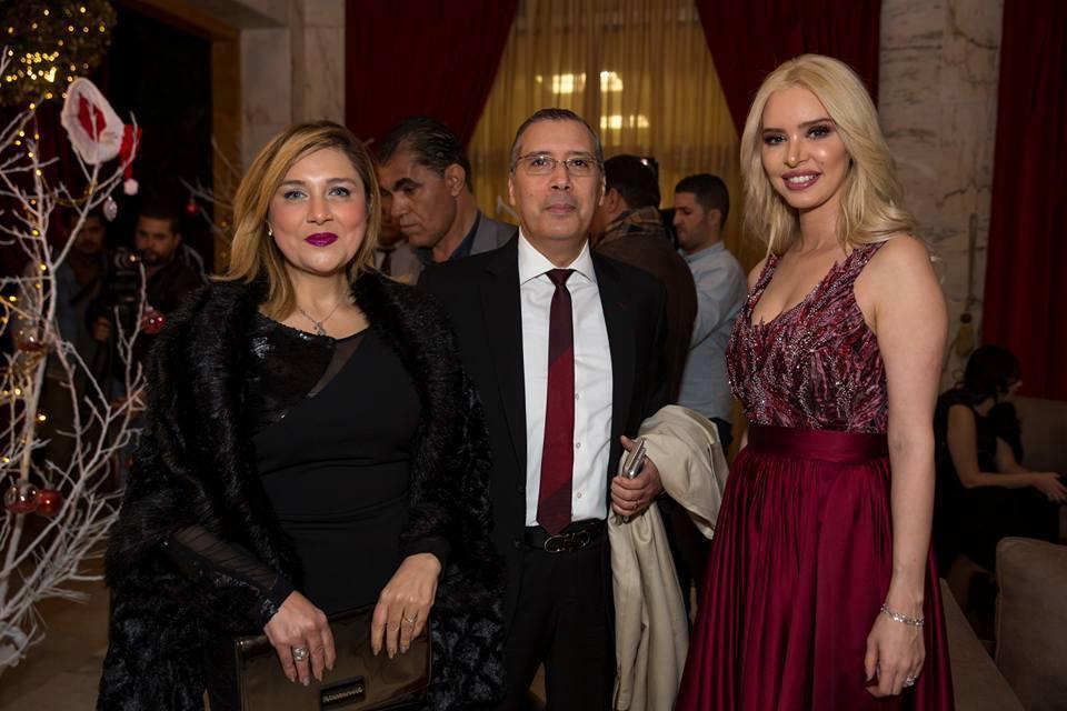 Borhène Bssaei et son épouse Saloua avec Aicha Othman