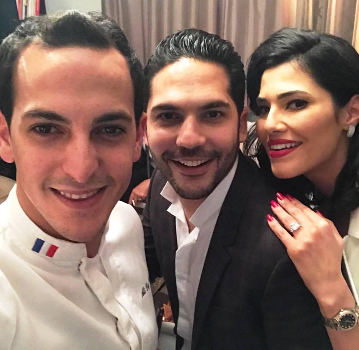 Maram Ben Aziza en compagnie de son fiancé et le chef cuisinier tunisien de renommée Ali Dey Daly