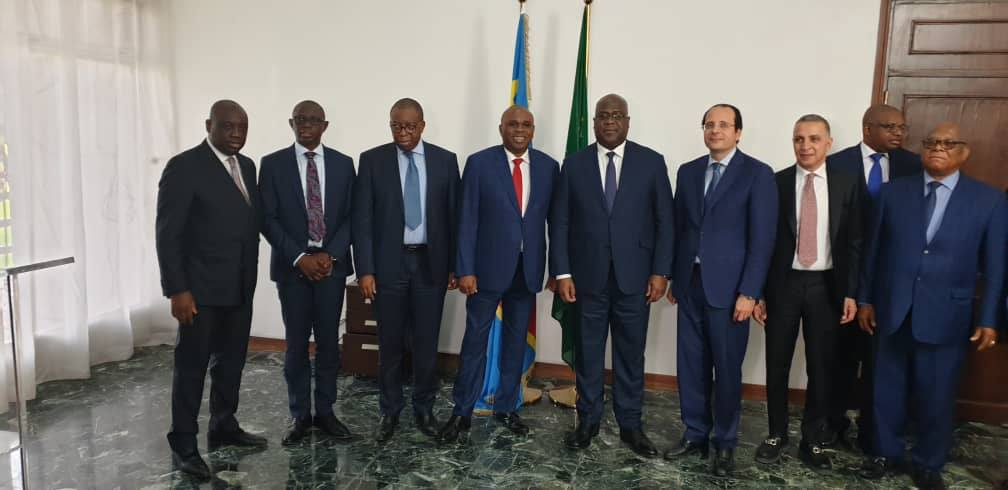La délégation de l'Afreximbank, présidée par M. Benedict Oramah,  avec le nouveau président du RDC, M. Felix Tshisekedi
