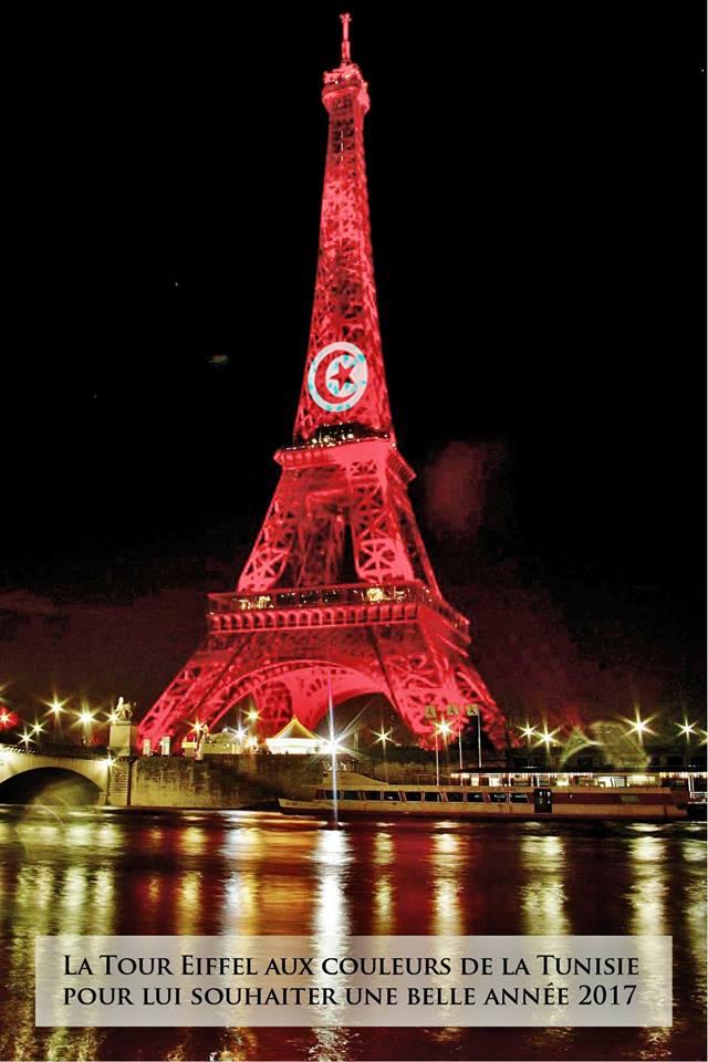 La Photo Du Jour La Tour Eiffel Aux Couleurs De La Tunisie
