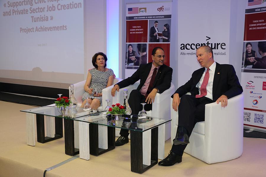 Lamia Chaffai Sghaier, Directrice générale de EFE Tunisie, Slim Khalbous, Ministre de l'Enseignement Supérieur et de la Recherche Scientifique et Benjamin Moeling, Chargé d'Affaires de l'Ambassade des Etats Unis d'Amérique en Tunisie