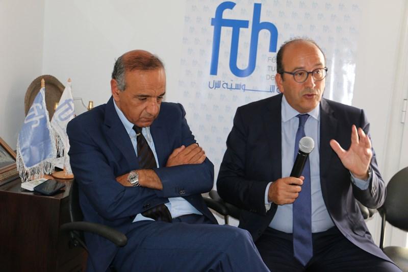 Khaled Fakhfakh, Président de la FTH et  Jalel Henchiri, président de la Fédération régionale de l'hôtellerie du sud-est (Djerba-Zarzis)