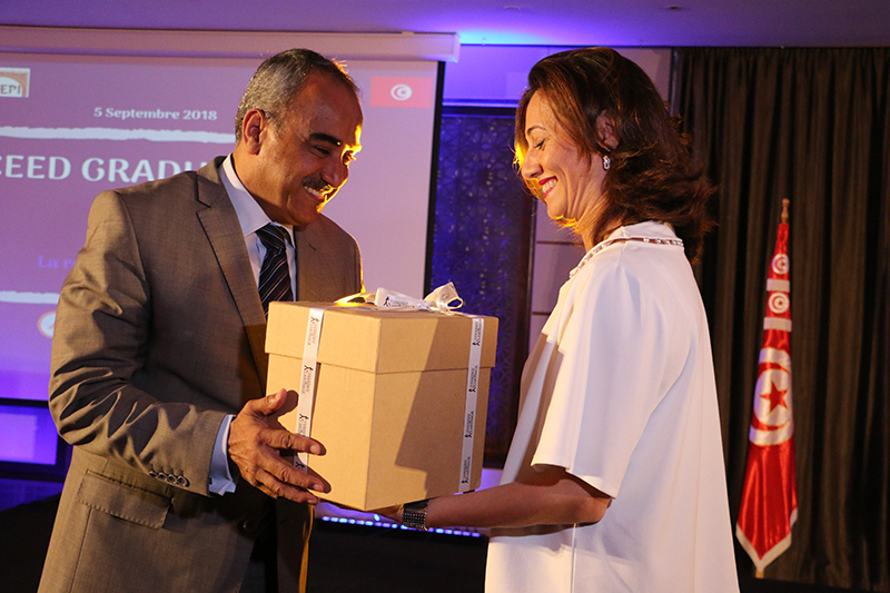 Mr. Ridha Chalghoum, ministre des Finances avec Wafa Makhlouf, directrice exécutive de CEED Tunisia