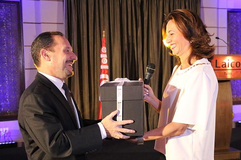 Daniel Rubinstein, Ambassadeur des Etats Unis avec Wafa Makhlouf, directrice exécutive de CEED Tunisia
