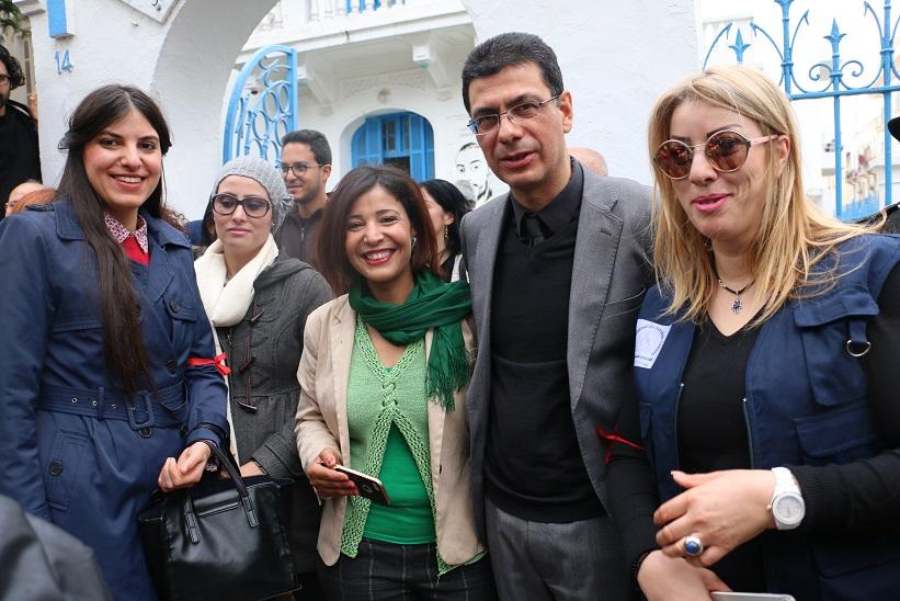 Kais Ben Mrad, SG de la Fédération Tunisienne des Directeurs de Journaux avec les collègues Zmorda Dalhoumi, Mabouka Khedhir et Nouha Belaid