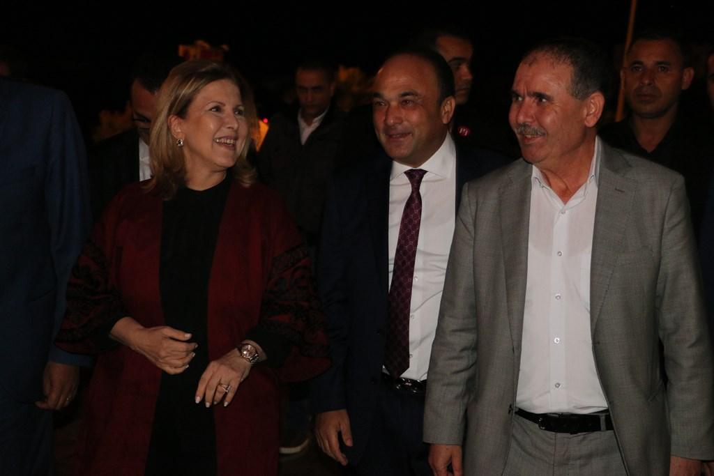 Selma Elloumi Rekik, Ministre du Tourisme et de l'Artisanat avec Maher Chaabane, gérant de la Sélection de Promotion Immobilière et promoteur du projet Tunisia Mall et Noureddine Taboubi, secrétaire général de l'UGTT