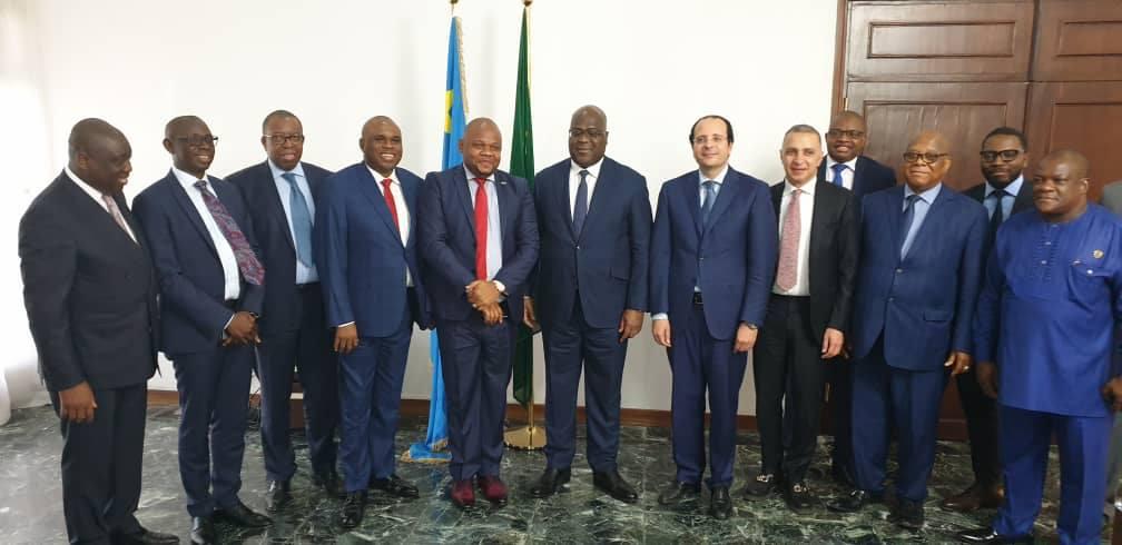 La délégation de l'Afreximbank,  avec le  président du RDC, M. Felix Tshisekedi