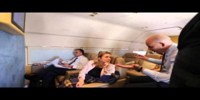 En vidéo, ambiance à bord du vol présidentiel à destination USA