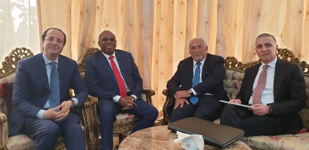 La délégation de l'Afreximbank avec Dominique Strauss-Kahn au Congo